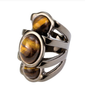 French Connection Tiger Eye Cabochon Ring S M eBay