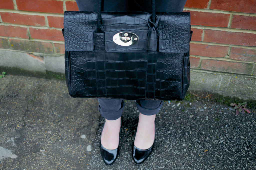 Mulberry Croc Tote Bag Black 008 Channeling Maggie T   Pearls & a Gap Blazer