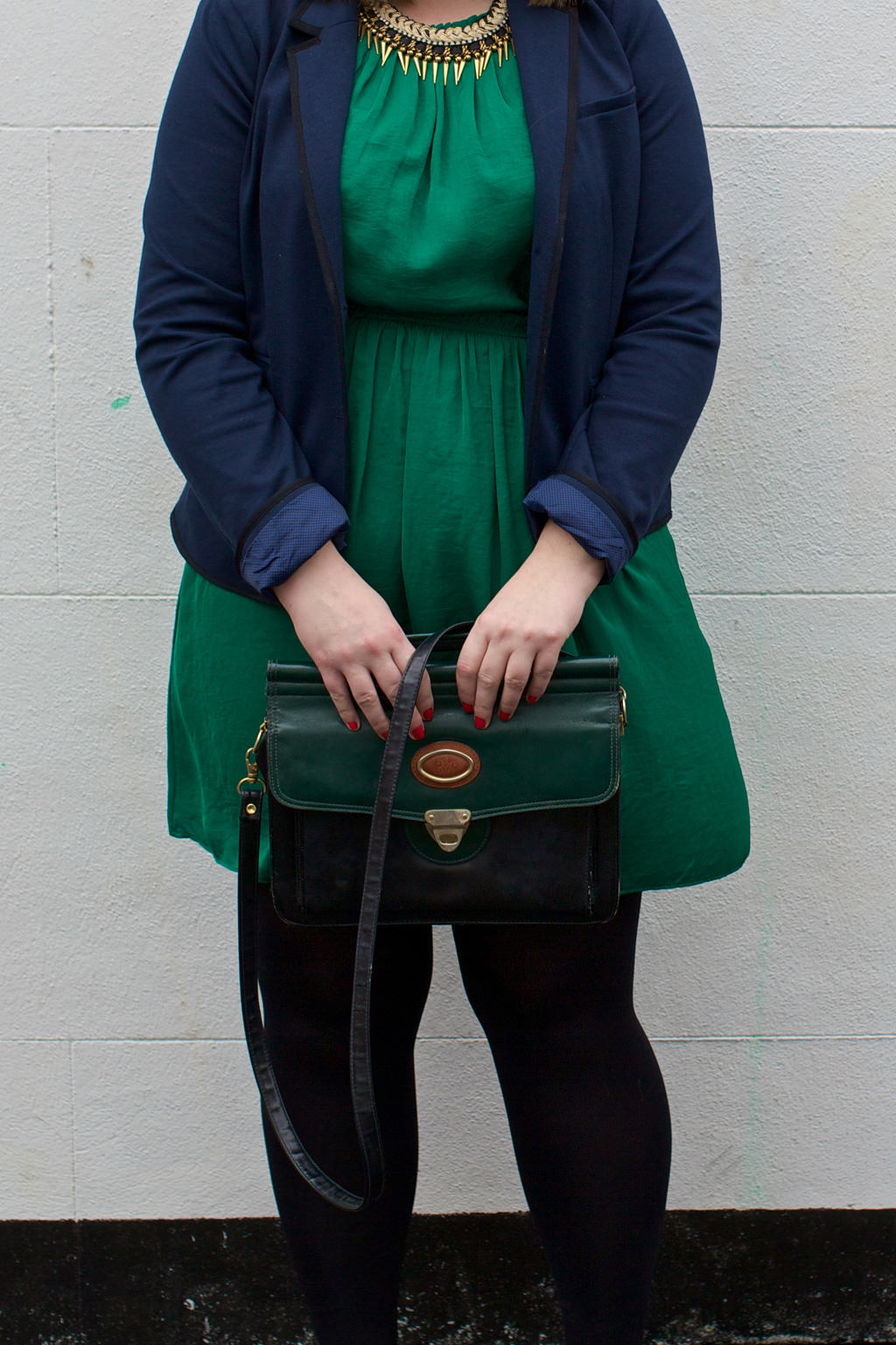 Allie Zara Dress Necklace April 020 OOTD: Zara Green Gathered Dress & Plaited Necklace