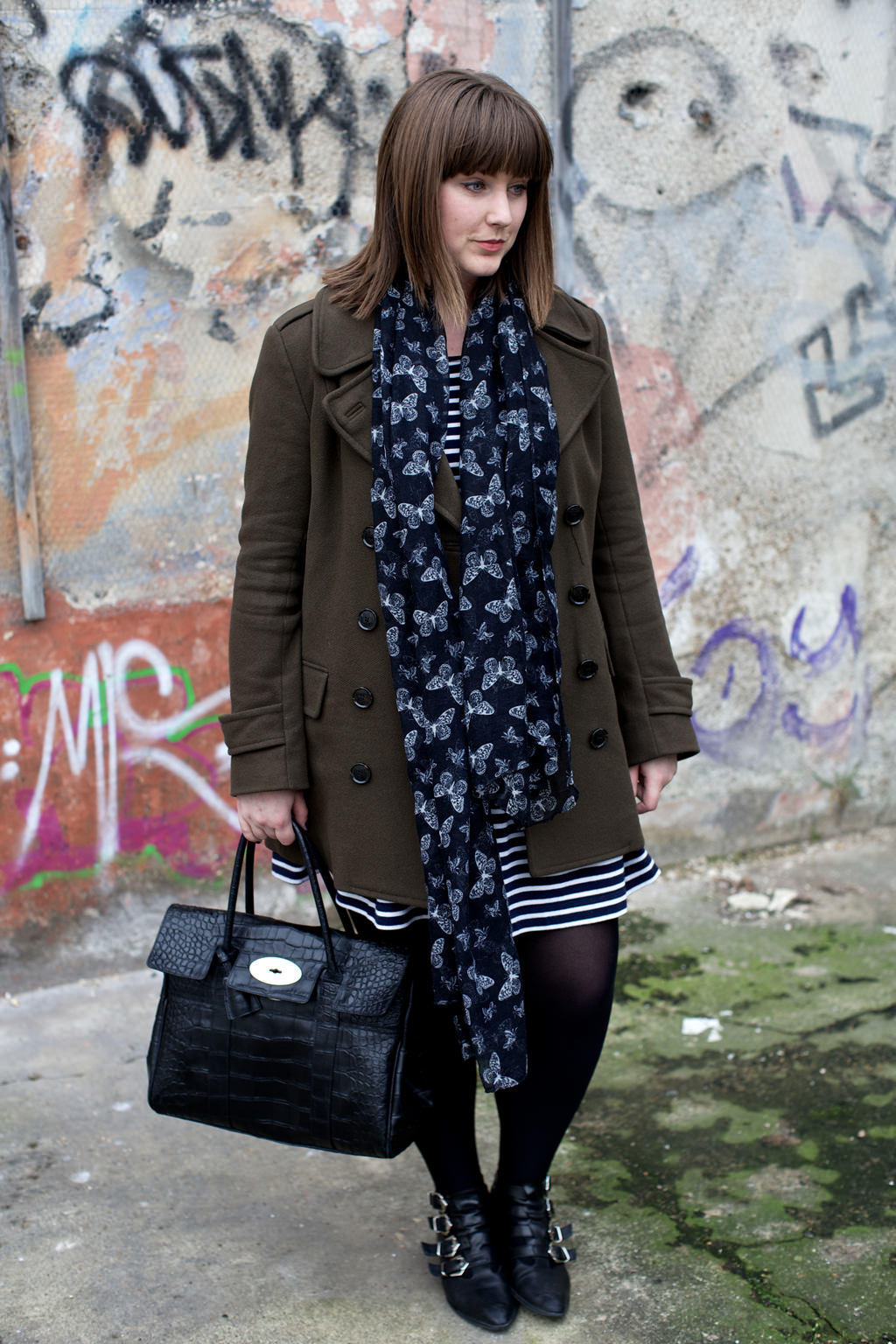 French Connection Pea Coat 028 OOTD: French Connection Stripes & Hipster Glasses