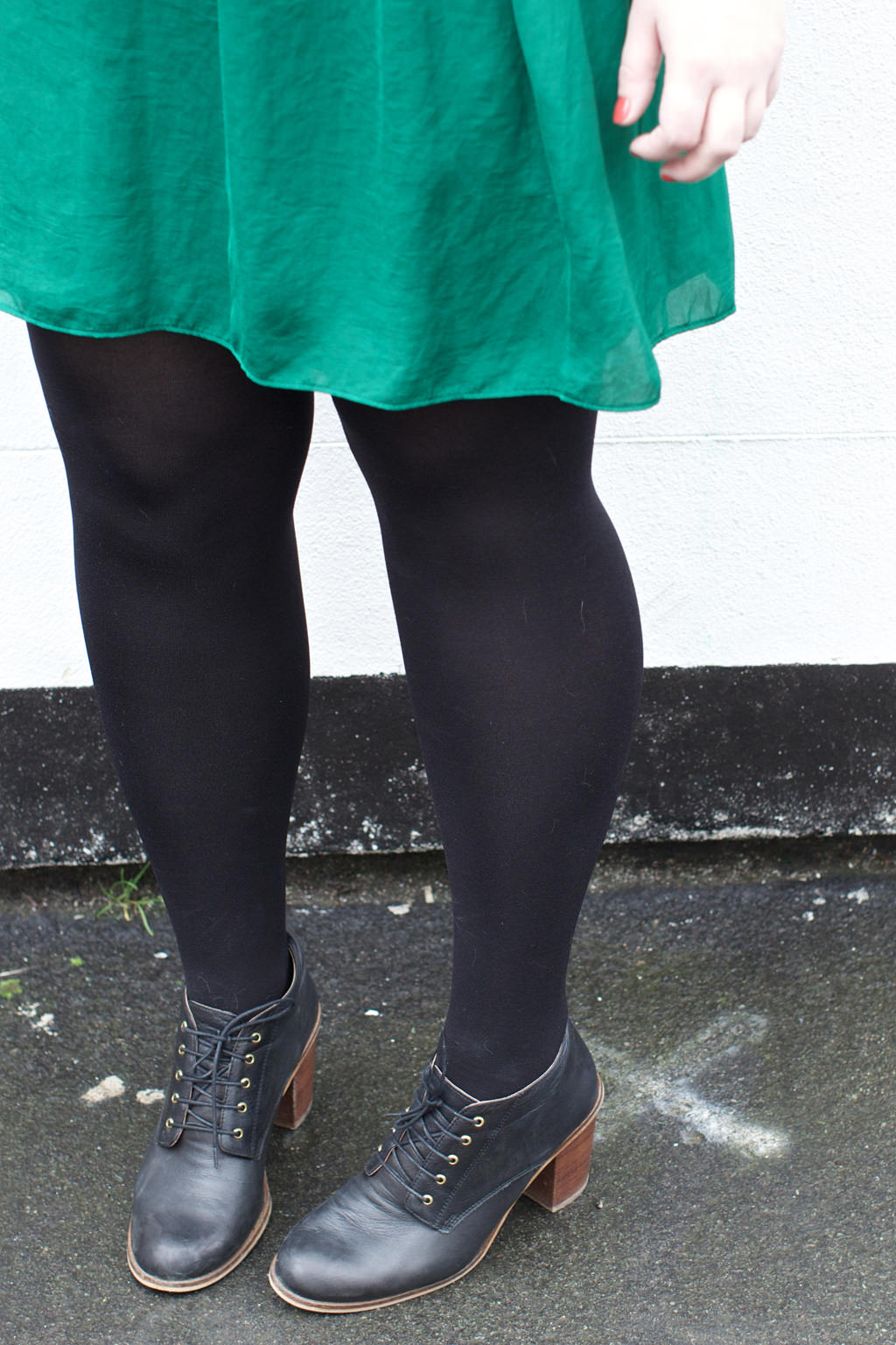 Office Lace Up Shoe Boots 021 OOTD: Zara Green Gathered Dress & Plaited Necklace