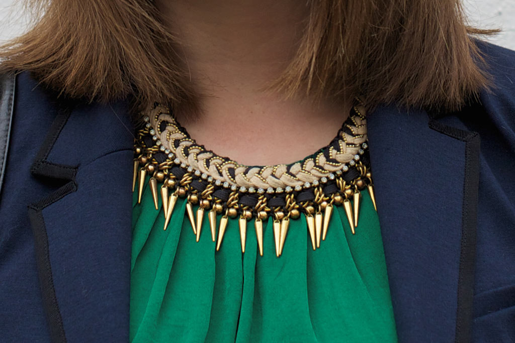 Zara Collar Cleopatra Necklace 022 OOTD: Zara Green Gathered Dress & Plaited Necklace