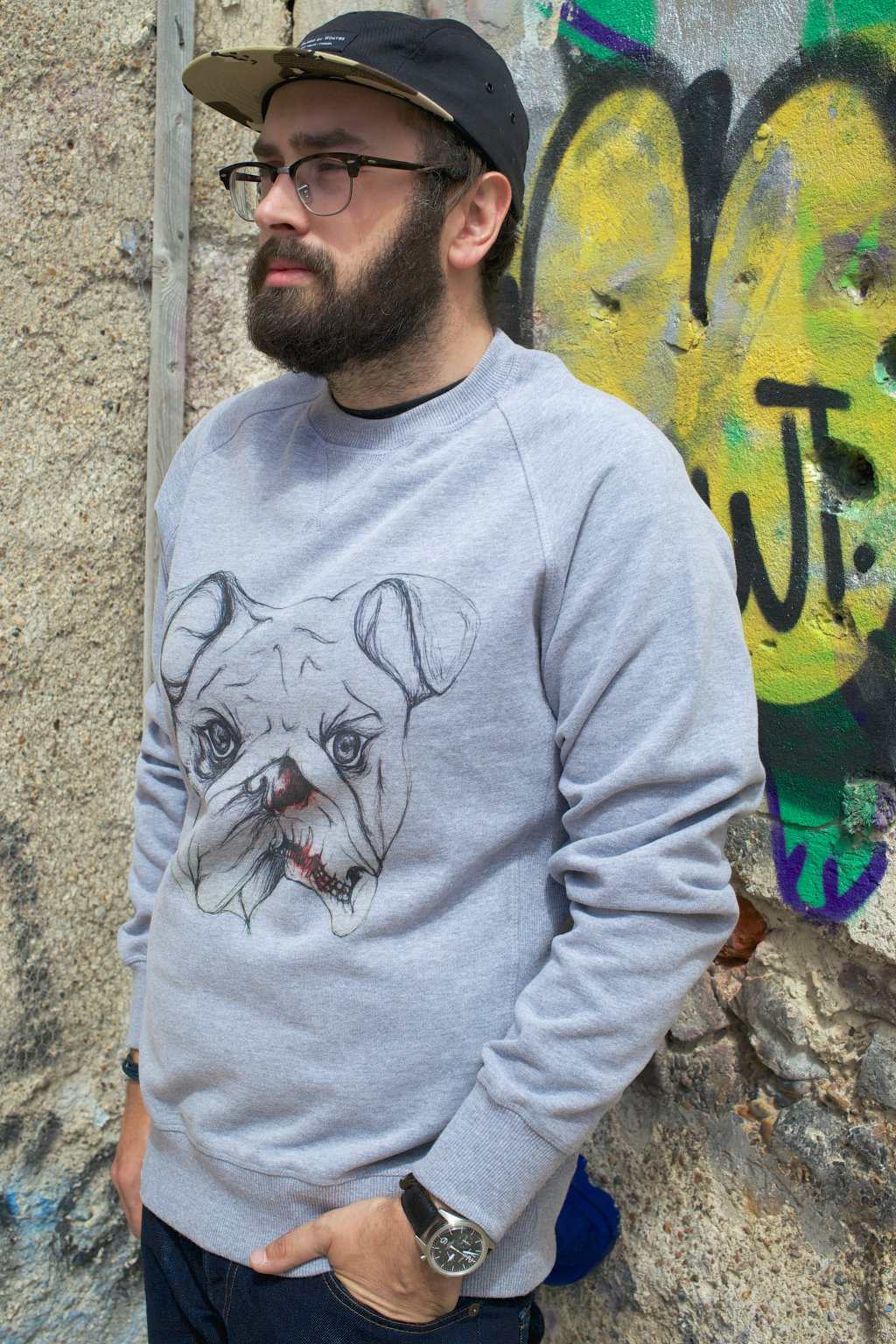 Bundy and Webster Decay Bulldog Grey Crewneck 065 mini