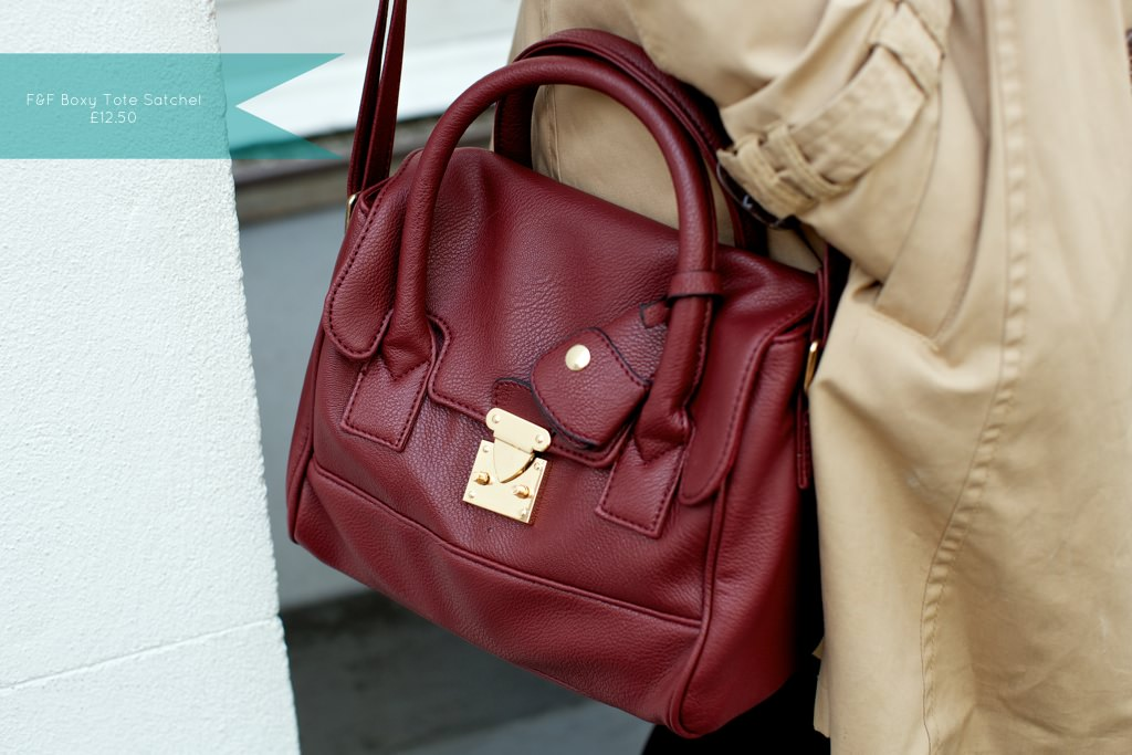F and F Tesco Oxblood Shoulder Bag 098